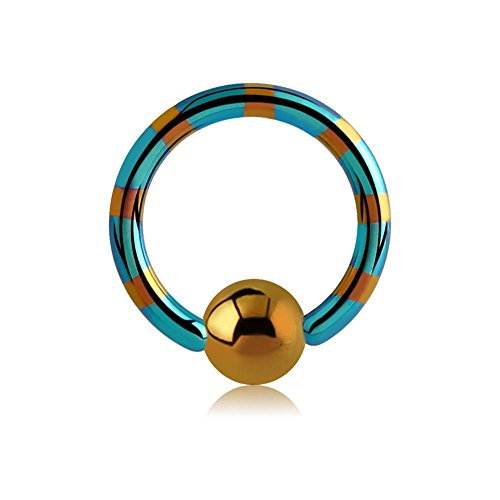 Two Tone Titanium Ball Closure Ring - Bronze & Green 1.0 x 6mm
