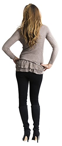 STEKOST - Camiseta de manga larga - Con los botones - Cuello redondo - para mujer marrón
