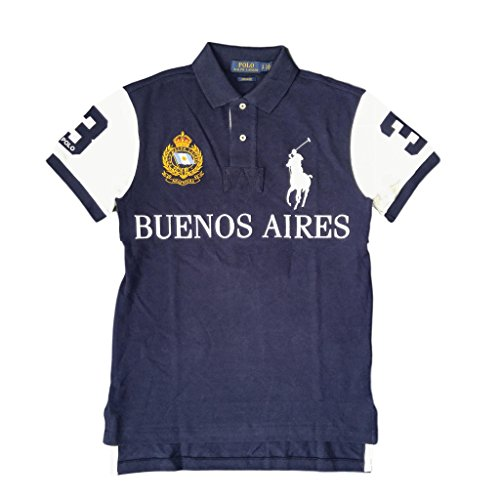 Polo Ralph Lauren Men's Buenos Aires, Big Pony City Custom Fit Mesh Polo Shirt, Navy/White, Large ()