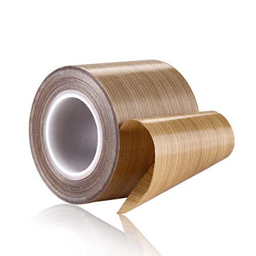 PTFE Coated Fiberglass Telfon Tape,high Temperature Tape;Drying Mechanical Conveyor Belt; Welding Sealing Tape; -196℃ - +300℃ ... (Brown, 48mm x 12yards x 0.18mm)