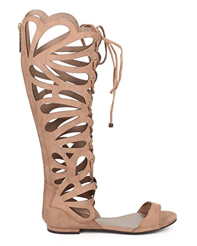 Breckelles Women's Solo-15 Gladiator Sandals,8 B(M) US,Taupe