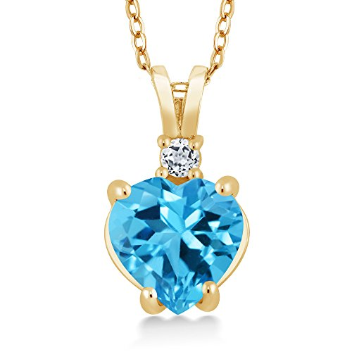 14K Yellow Gold Swiss Blue and White Topaz Pendant Necklace 2.33 Ct Heart Shape with 18 Inch Chain 14k Yellow Gold Swiss