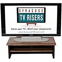 DARK WALNUT TRIPLE TIER TV RISER 26X14X8 1/2 BY SYRACUSE TV RISERS