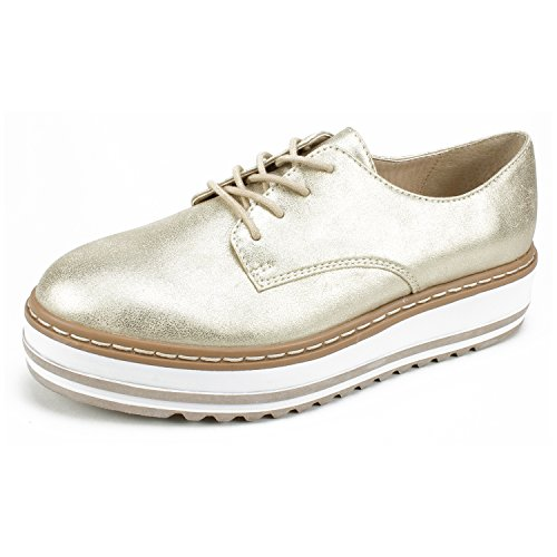 Seven Dials Shoes Benina Women's Oxford, Pale Gold/Metallic Smooth, 9H - Stores London Street Oxford