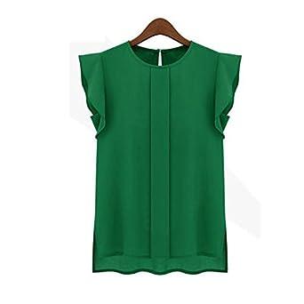 Dacawin Spring Womens Casual Loose Chiffon Short Tulip Sleeve Shirt Tops