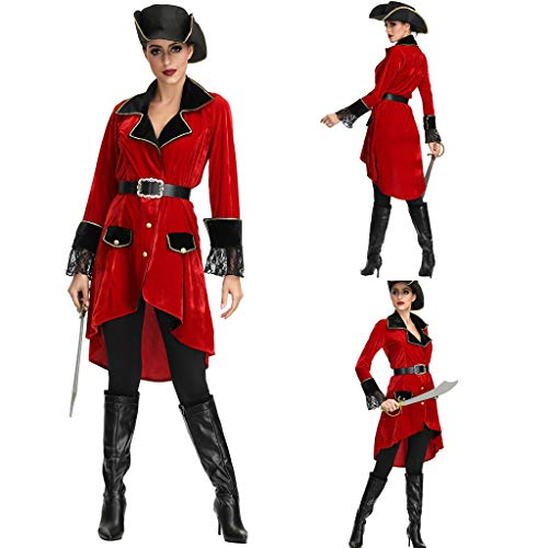 Dainzuy Women's 4 Piece Gothic Coat Cosplay Costume Halloween Sexy Lingerie Clothes Pirate Suit Red