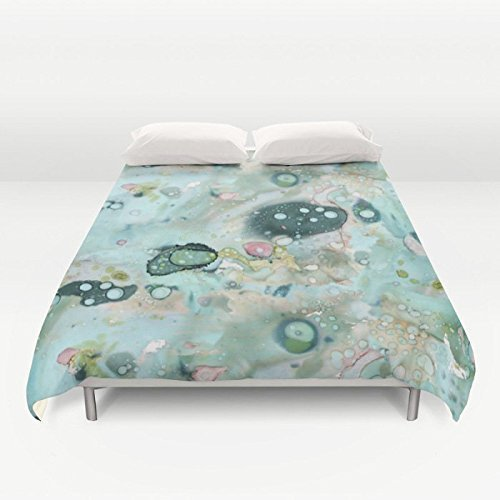 Funky Unique Shabby Chic Duvet Cover Watercolor Art Design. Blue organic designer bedroom set. Original, eccentric, contemporary, artist home decor bedding.