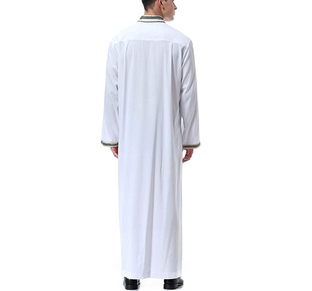 KRUIHAN Homme Musulman V/êtement Abaya Dubai Islamique Costume Robe Arabe Longue Jalabiya Vintages