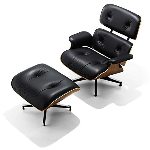 Mid Century Lounge Chair with Ottoman,Mid Century Modern Lounge Chair - High Grade Leather - Black Leather Solid Palisander Wood Lounge Chair Replica (Black Palisander - Upgraded2)
