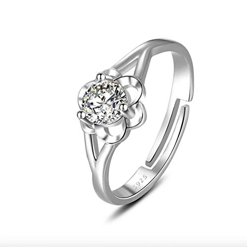 KWUNCCI CZ Flower Ring Eternity Engagement Bands Stack Rings Adjustable for Girls Women