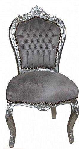 Casa Padrino Barock Esszimmer Stuhl Grau Silber Antik Stil Mobel