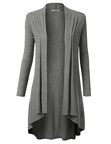 URBANCLEO Womens Solid Ribbed Hi-Lo Open Front Long Cardigan Charcoal, L ()