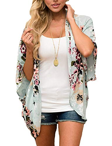 BB&KK Womens Floral Print Sheer Chiffon Kimono Cardigan Blouse Loose Beach Cover up M