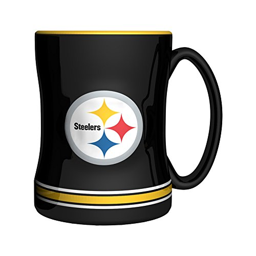 (NFL Pittsburgh Steelers Sculpted Relief Mug, 14-ounce, Black)