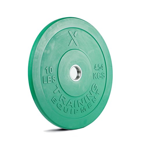 X Training Equipment 10lb Color Bumper Plate Pair Solid Rubber with Steel Insert - Great for Crossfit Workouts - (2 X 10 lb Pound Green Plates)