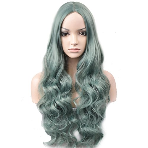 (BERON Long Wavy Charming Full Synthetic Wigs for Women Girls Natural Curly Wigs with Wig Cap (Mint)