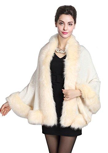 luxury Women's Bridal Faux Fur Shawl Wraps Cape Cloak Coat-S55 Beige