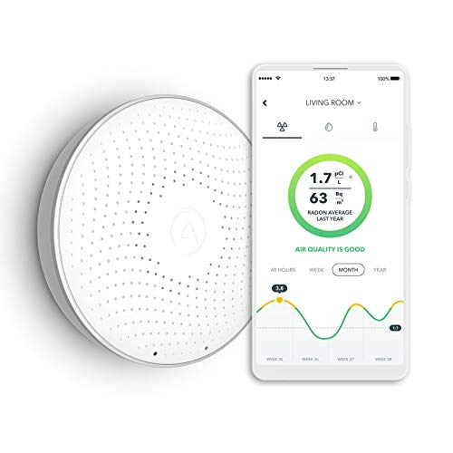 Airthings Wave Smart Radon Detector with free app - Easy-to-Use - Temp and Humidity - Accurate - No Lab Fees - Battery Operated (Safety Siren Pro Series3 Radon Gas Detector)
