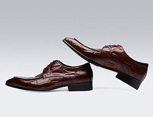 Zapatos Clásicos de Piel para Hombre Zapatos de cuero para hombres Negocios Ropa formal Zapatos de boda de encaje puntiagudo Novio ( Color : Marrón , Tamaño : EU 41/UK7 ) Marrón