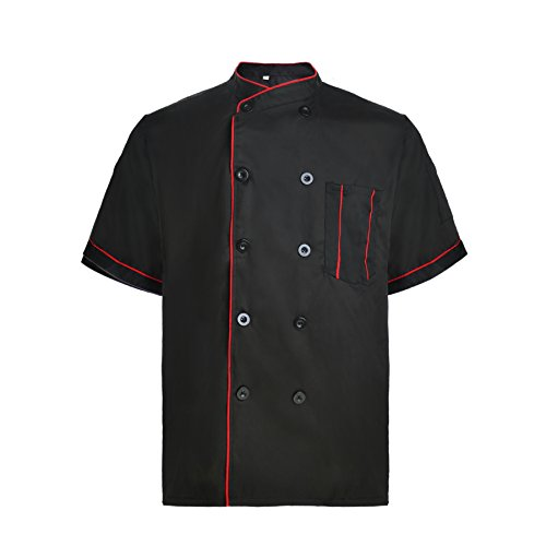 TOPTIE Unisex Short Sleeve Chef Coat Jacket, Black with Red