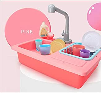 DUSANER Quality goods Color Changing Kitchen Sink Toys Heat Sensitive Thermochromic Dishwash Children's Kitchen Toy Pretend Play House Toys for Girls Boutique light up life (Color : Pink)