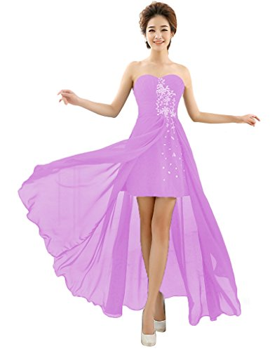 Prom Evening Chiffon Women's Dresses Wedding 3 Beaded Sexy BessWedding Long Purple x60wqxOB
