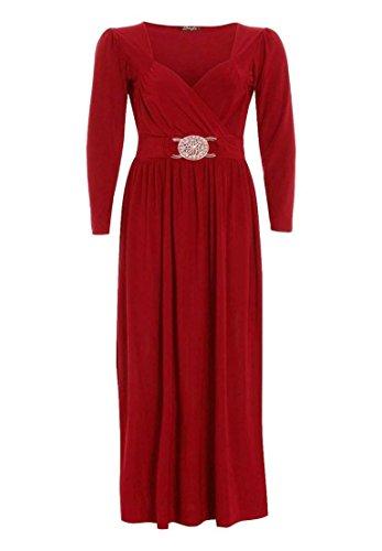À Manches Longues Pour Femmes Grande Taille Front Buckle Fluide Enveloppant Robe Maxi 16-26 - Rouge, 20-22