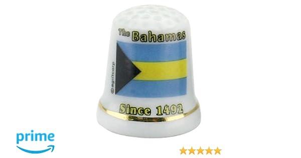 Bahamas Caribbean Flag Pearl Souvenir Collectible Thimble agc