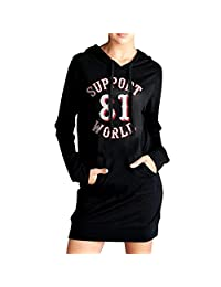Womens Support 81 World Hoodie Black Long Sleeve Sweatshirt Dress With Pocket