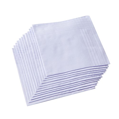 - Ricosky Men's Pure White 100% Cotton Handkerchief Pack Of 12