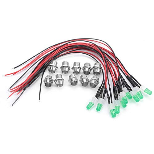10Pcs Wired LED Diodes Light Pre-Wired Constant LED Light Emitting Diode Wiring 12V 8mm Ultra Bright Water Clear ()