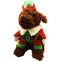 3b0c54830dde DELIFUR Christmas Dog Costumes Dog Elf Costume with Hat Santa Dog Costume  Xmas Dog Costume for