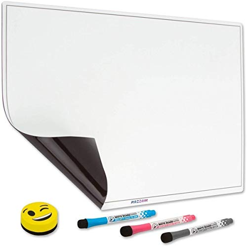 """Big Sale! Magnetic Dry Erase Board for Fridge - 17""""x13"""" Large - 0.7mm Thick - Shipped Flat - Refrigerator Whiteboard, 3 Markers & Eraser - A Fridge Whiteboard Sheet for to-Do Lists & Family Notes"""