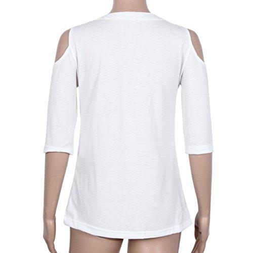 Tongshi Manera de las mujeres del hombro sudadera Camiseta media manga Tops blusa de la camisa blanco