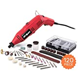 Hi-Spec 135W High Speed Multi Purpose Rotary Multi Tool, Cutting Tool, Sander, Grinder, Engraver & More and 120 Piece Mixed Rotary Tool Accessories Kit. DREMEL Tool & Accessories Compatible
