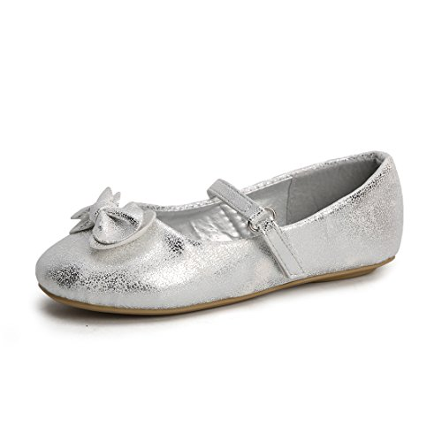 Silver Toddler Shoes (Hawkwell Mary Jane Bow Ballerina Flat (Toddler/Little Kid/Big Kid),Silver PU,7 M US)