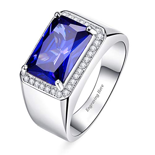 BONLAVIE Custom Name Text Men's Created Blue Sapphire and Cubic Zirconia CZ 925 Sterling Silver Promise Ring Comfort Fit Size 6