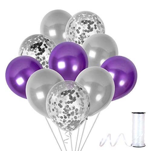 Unicorn Purple Silver Confetti Balloons Kit in Metallic Latex for Valentine Birthday or Wedding Party Decor -