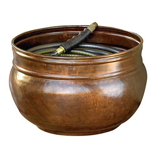 Liberty Garden Products 1901 Rustic Garden Hose Pot, Holds 100-Feet of 5/8-Inch Hose, Bronze