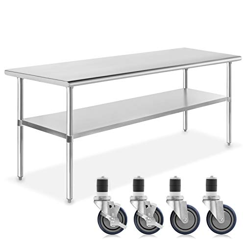 GRIDMANN NSF Stainless Steel Commercial Kitchen Prep & Work Table w/ 4 Casters (Wheels) - 72 in. x 30 in. (Bar Stainless Table And Stools Steel)