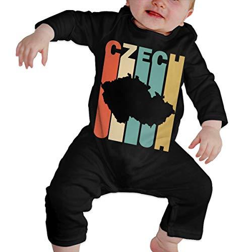 Long Sleeve Cotton Bodysuit for Baby Boys and Girls, Fashion Retro Style Czech Republic Silhouette Sleepwear Black ()