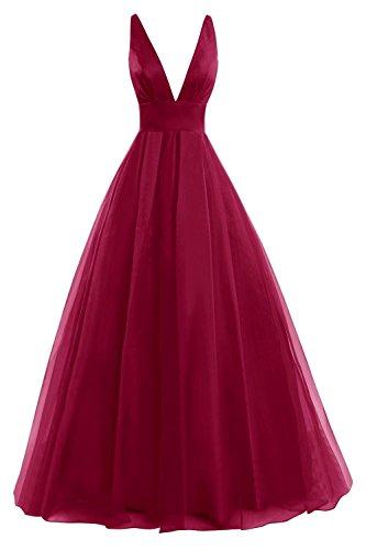 V Kleid Fanciest Ball Burgundy Neck Formelle Kleides Ballkleid 2016 Women's Lang Evening Abendkleider pqwwIH5