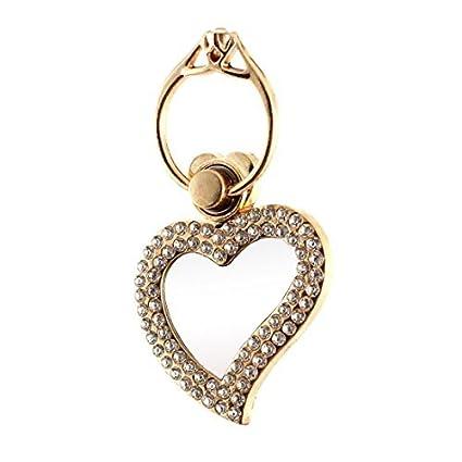 eDealMax Forma del corazón del Metal del Rhinestone del sostenedor del anillo de dedo Embedded Blanca