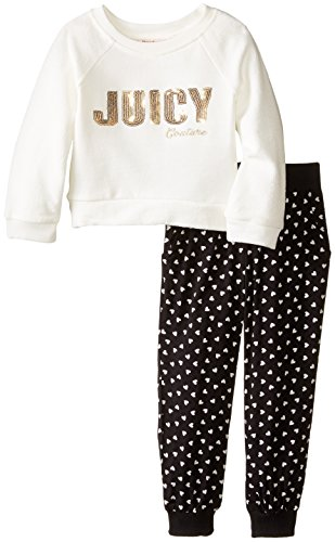 Heart Couture Juicy Girls - Juicy Couture Little Girls' Top and Heart Print Black Jog Pants, Multi, 6X