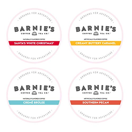 Barnie's Single Serve Coffee Variety Pack | 8 Santa White Christmas Coffee, 8 Southern Pecan, 8 Creamy Buttery Caramel, 8 Crème Brulee | Coffee Pods Compatible With Keurig Brewers | 32 Count