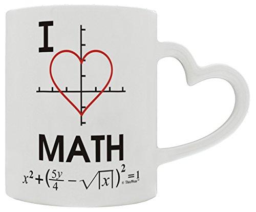 Mathlete I Love Math Heart Graphs Functions Trigonometry Heart Handle Gift Coffee Mug Tea Cup Heart - White Notepad Imprinted