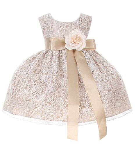 Cinderella Couture Baby Girls' Champagne Lace Dress Champ Sash & Flw 18M L 1132B from Cinderella Couture