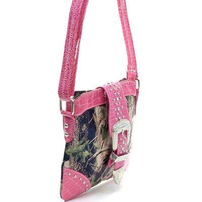 Pink /& Camo Ritz Enterprises MS103-PK//CAM Western Camouflage Rhinestone Belt Buckle Accent Crossbody Messenger Bag Purse