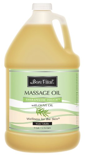 Bon Vital' Therapeutic Touch Massage Oil Made with Olive Oil to Repair Dry Skin & Soothe Sore Muscles, Lightweight Oil Perfect for Any Massage to Hydrate and Nourish Dry, Rough Skin, 1 Gallon Bottle ()