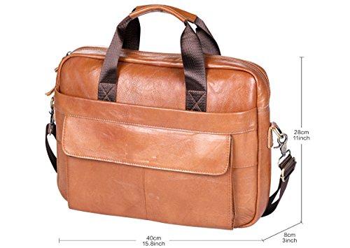VIDNEG Handmade Briefcase Top Grain Leather Laptop Bag Messenger Shoulder Bag for Business Office 15 inch Macbook (CP-Light Brown) by VIDENG (Image #4)